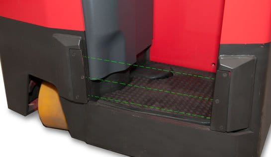 stand up forklifts, operator compartment sensor system
