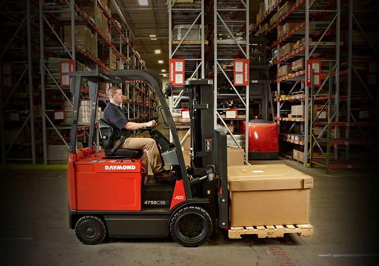Raymond forklift in warehouse