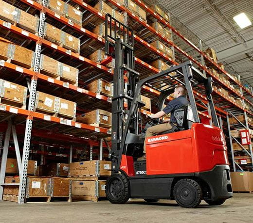 Raymond sit down forklift in warehouse