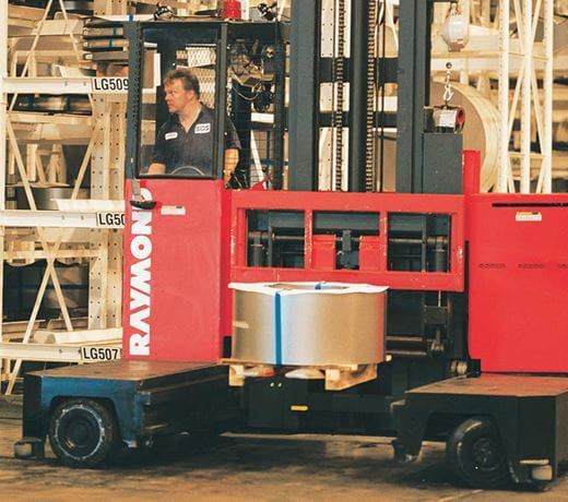 Raymond Sideloader Long Load Forklift Crab Steering Feature
